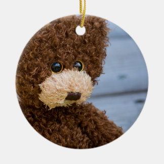 Curly Brown Teddy Bear Ceramic Ornament