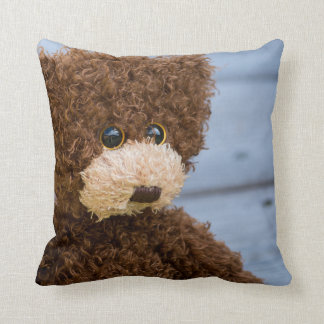Curly Brown Teddy Bear Throw Pillow
