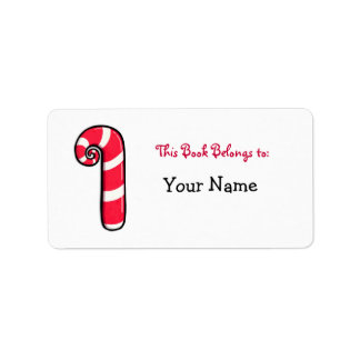 Curly Candy Cane Bookplate Label