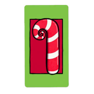 Curly Candy Cane green Sticker Label Shipping Label