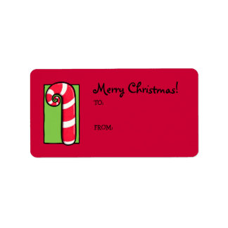 Curly Candy Cane red Gift Tag Label