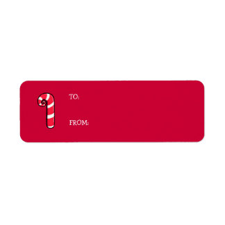 Curly Candy Cane red Gift Tag Label Return Address Label