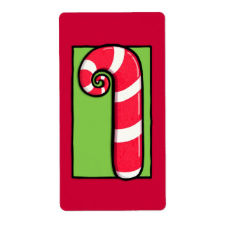 Curly Candy Cane red Sticker Label Shipping Label