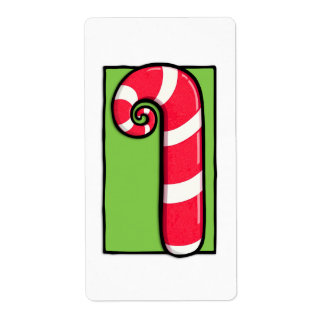Curly Candy Cane white green Sticker Label Shipping Label
