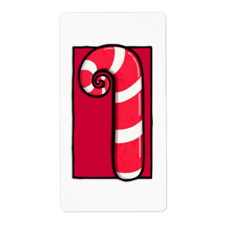 Curly Candy Cane white red Sticker Label Shipping Label