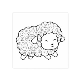Curly Coat Happy Little Sheep Ewe Rubber Stamp