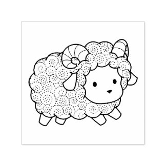 Curly Coat Little Sheep Ram Self-inking Stamp