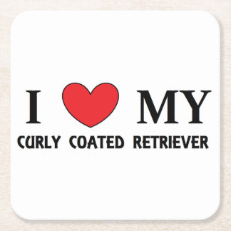 curly coat ret love square paper coaster