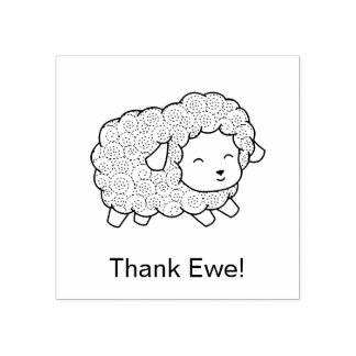 Curly Coat Thank Ewe (You) Sheep Rubber Stamp