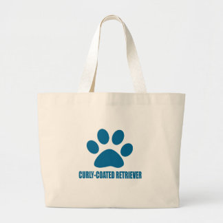CURLY-COATED RETRIEVER DOG DESIGNS LARGE TOTE BAG