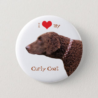 Curly Coated Retriever dog I love heart button