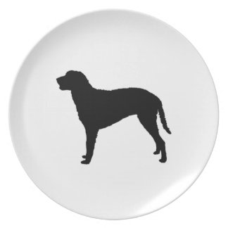 Curly Coated Retriever Silhouette Love Dogs Plates