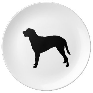 Curly Coated Retriever Silhouette Love Dogs Porcelain Plate