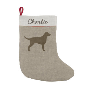 Curly Coated Retriever Silhouette with Custom Text Small Christmas Stocking