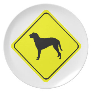 Curly Coated Retriever Warning Sign Love Dogs Dinner Plate