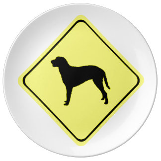 Curly Coated Retriever Warning Sign Love Dogs Porcelain Plates