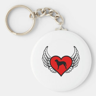 Curly Coated Retriever Winged Heart Love Dogs Keychain