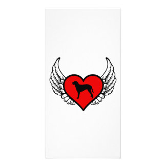 Curly Coated Retriever Winged Heart Love Dogs Photo Card Template