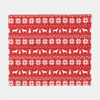 Curly Coated Retrievers Christmas Pattern Red Fleece Blanket