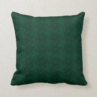 Curly Flower Pattern - Dark Green on Green Throw Pillow