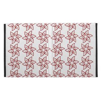 Curly Flower Pattern - Dark Red on White iPad Case