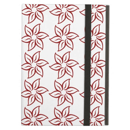 Curly Flower Pattern - Dark Red on White iPad Air Case