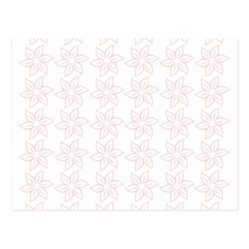 Curly Flower Pattern - Pale Pink on White Post Card