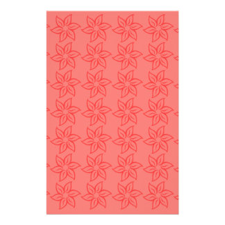 Curly Flower Pattern – Red on Light Red Customized Stationery