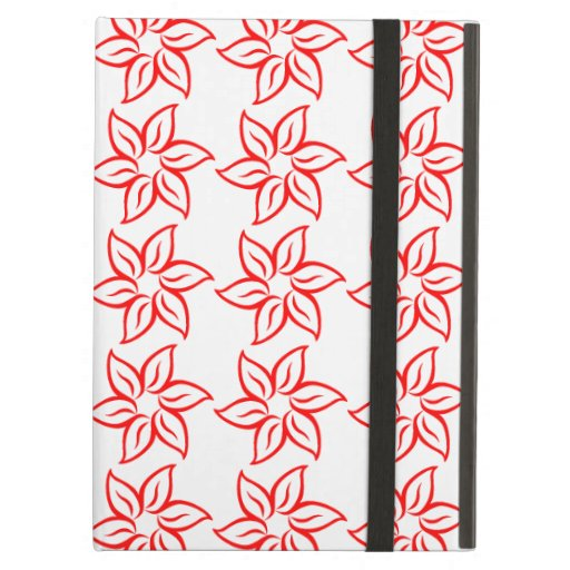 Curly Flower Pattern - Red on White iPad Air Case