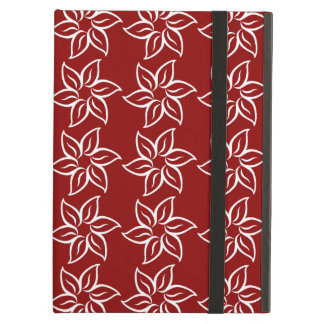 Curly Flower Pattern - White on Dark Red Cover For iPad Air