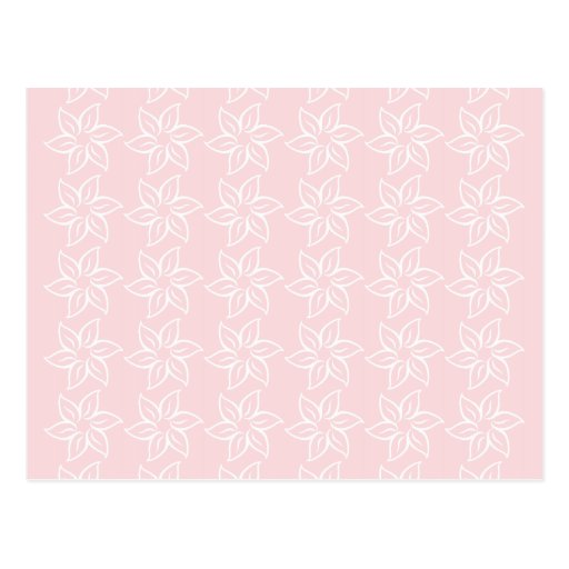 Curly Flower Pattern - White on Pale Pink Postcard