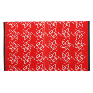 Curly Flower Pattern - White on Red iPad Cases