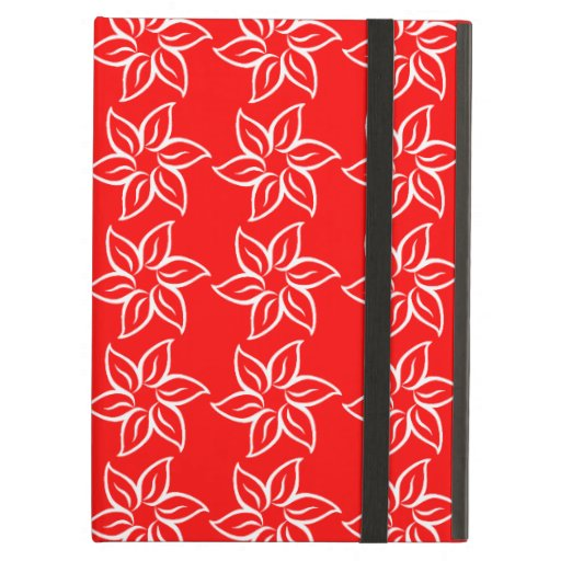 Curly Flower Pattern - White on Red Case For iPad Air