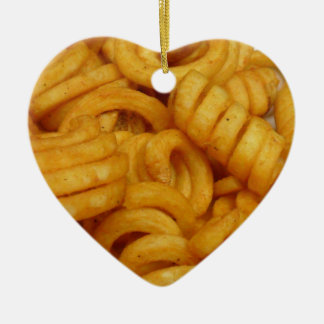 Curly Fries Ceramic Heart Ornament