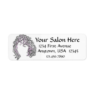 Curly Hair with Pink Custom Labels