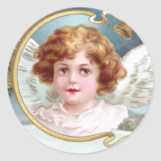 Curly Haired Angel Vintage Christmas Classic Round Sticker