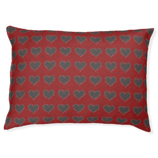 Curly Heart Black on Red Pet Dog Pillow Large Dog Bed