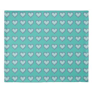 Curly Heart Blue Green Duvet Cover