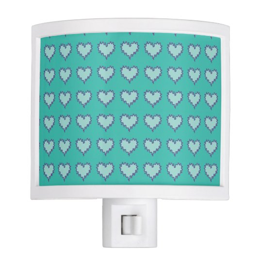 Curly Heart Blue Green Night Light