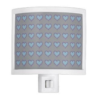 Curly Heart Light Blue on Gray Night Light