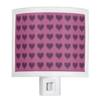 Curly Heart Purple on Purple Night Light