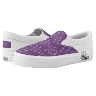 Curly Heart Purple Slip-On Sneakers