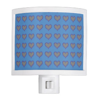 Curly Heart Silver on Blue Night Light