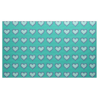 Curly Heart Turquoise Fabric