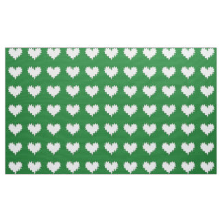 Curly Heart White on Green Fabric
