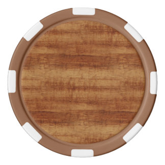 Curly Koa Acacia Wood Grain Look Poker Chips