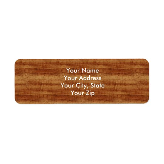 Curly Koa Acacia Wood Grain Look Return Address Label