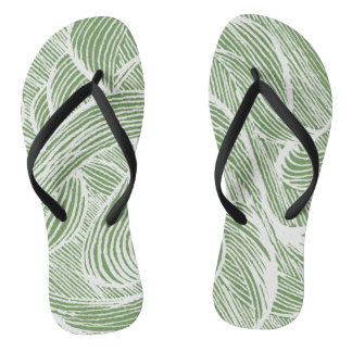 curly LINEs leaf Flip Flops