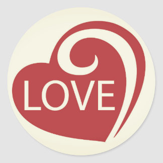 Curly Love Heart Classic Round Sticker