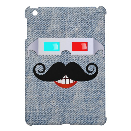 Curly Moustache, 3D Glasses and Faded Denim iPad Mini Cover